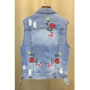 Chic Floral Embroidered Back Lapel Collar Sleeveless Ripped Denim Vest