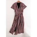 Women's Fashion V-Neck Color Block Striped Short Sleeve Split Front Midi Dress
