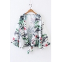 Chic Floral Pattern Long Sleeve Sun Protection Knotted Kimono Top