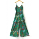 New Fashion Spaghetti Straps Sleeveless Floral Pattern Jumpsuits