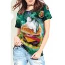 3D Galaxy Cat Hamburger Printed Round Neck Short Sleeve Casual Loose Tee