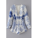 Fashion Plunge V-Neck Long Sleeve Blue and White Porcelain Printed Rompers