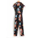 New Stylish Wrap V-Neck Short Sleeve Floral Printed Zip Side Jumpsuits