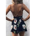 Chic Floral Pattern Spaghetti Straps Open Back Casual Leisure Rompers