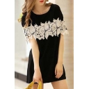 Chic Lace Embellished Round Neck Short Sleeve Mini Casual T-Shirt Dress