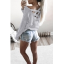 Hot Fashion Crisscross Hollow Out Back Long Sleeve Plain T-Shirt