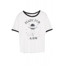 Funny READY FOR ALIENS Graphic Printed Tee with Round Neck Short Sleeve