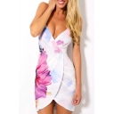 New Fashion Floral Printed Plunge Neck Spaghetti Straps Bodycon Mini Slip Dress