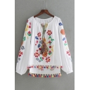 Round Neck Long Sleeve Floral Embroidered Tassel Trim High Low Pullover Peasant Top