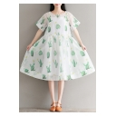 Chic Sheer Cactus Printed Short Sleeve Round Neck Midi Smock Dress with One Cami Dress