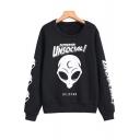 Letter Alien Pattern Round Neck Long Sleeve Pullover Loose Leisure Sweatshirt