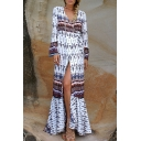 Boho Style Plunge Neck Long Sleeve Tribal Printed Split Front Maxi Dress