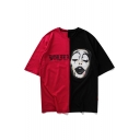 Funny Clown Printed Fashion Color Block Round Neck Loose Unisex T-Shirt