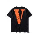 New Fashion V Letter Printed Round Neck Short Sleeve Pullover T-Shirt
