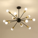 Industrial Vintage Semi Flush Mount with Black Finished Support Gold Socket, 12 Lights