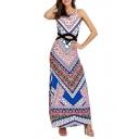 Hot Fashion Sleeveless Cut Out Waist Tribal Printed Maxi Beach Dress