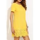 Elegant Hollow Out Scallop Hem Short Sleeve Round Neck Plain Mini Swing Dress