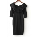 Boat Neck Short Sleeve Ruffle Hem Plain Mini Pencil Dress
