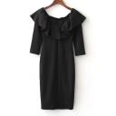 Boat Neck Short Sleeve Ruffle Hem Plain Mini Pencil Dress