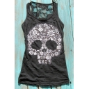 Hot Fashion Lace Inserted Back 3D Skull Printed Oversize Round Neck Tank Top