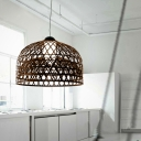Ratten Pendant With Bowl Shade, 1-Lt