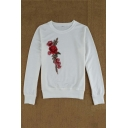 Hot Fashion Floral Embroidered Round Neck Long Sleeve Pullover Sweatshirt
