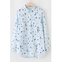 New Stylish Fresh Star Printed Lapel Collar Long Sleeve Buttons Down Shirt