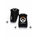 New Arrival Letter Printed Stand Up Collar Long Sleeve Single Breasted Baseball Jacket