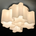 Quadruple Floral Frosted Blown White Glass Semi-Flush Mount Light
