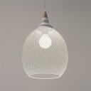 White Mesh Shade Pendant Light Modern,  10'' W