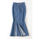 New Stylish Split Front Single Breasted Plain Maxi Denim Skirt