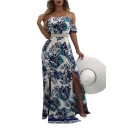 Hot Fashion Floral Printed Off The Shoulder Short Sleeve Split Side Maxi Dress