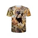 Hot Fashion 3D Cartoon Cat Printed Round Neck Short Sleeve Casual Tee