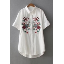 Chic Floral Birds Embroidered Lapel Collar Short Sleeve Buttons Down Shirt