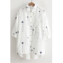 Five-Point Star Embroidered Lapel Collar Half Sleeve Buttons Down High Low Shirt