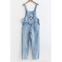 Lovely Sweetheart Printed Fashion Denim Overalls Pants with Pockets
