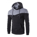 Unisex Drawstring Hooded Long Sleeve Color Block Hoodie Sweatshirt