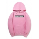 Drawstring Hooded SPREAD THE MESSAGE Letter Printed Long Sleeve Hoodie Sweatshirt