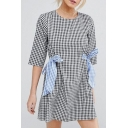 New Fashion Round Neck Half Sleeve Plaids Pattern Bow Waist Mini Casual Dress