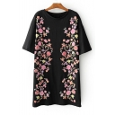 Floral Printed Short Sleeve Round Neck Mini T-Shirt Dress