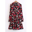 Color Block Floral Printed Lapel Single Breasted Long Sleeve Midi Shirt Dress