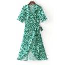 V Neck Short Sleeve Floral Printed Bow Waist Midi A-Line Wrap Dress