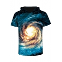 Unisex Hooded Short Sleeve Galaxy 3D Printed Tee
