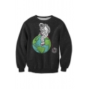 New Fashion Moon Astronaut Pattern Round Neck Long Sleeve Casual Sweatshirt