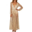 Sexy Sheer Plunge V-Neck Long Sleeve Sequined Maxi A-Line Dress