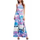 Halter Neck Open Back Color Block Geometric Printed Maxi Flared Dress