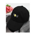 Adjustable Vintage Chic YOU Smile Face Embroidery Pattern Baseball Cap