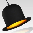 Contemporary Bowler Hat Pendant Light in Black Finish, 10'' Wide