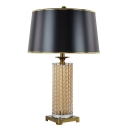 Cylinder Glass Column Table Lamp with Trapezoid Fabric Shade in Black/White