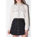 Lapel Collar Long Sleeve Color Block Chiffon Loose Buttons Down Shirt
